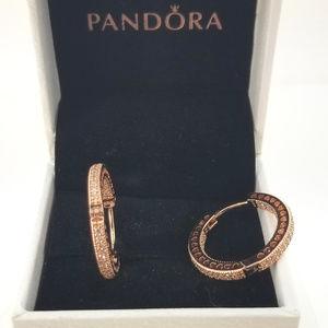 Pandora Rose Gold Hearts Of Pandora Hoop Earrings